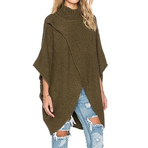 Rare Free People Green All Wrapped Cocoon Sweater